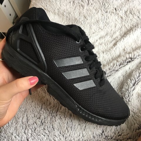 25d72abcf89cf adidas flux all black Adidas ZX Flux all black trainers    Only worn a  couple of - Depop