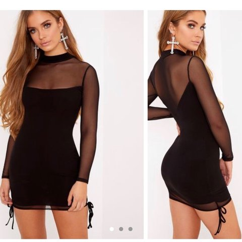 0da3d195c72 Nera Black Mesh High Neck Bodycon Dress PRETTY LITTLE THING - Depop