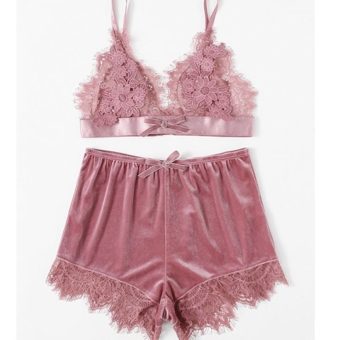 PINK VELVET BRALETTE AND PJ SET .  For the nights when a bra - Depop ab24a3934