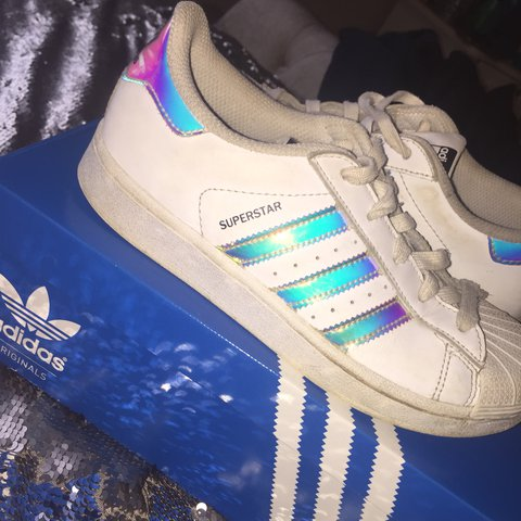 460f2031f2b1 JUNIOR HOLOGRAPHIC ADIDAS SUPERSTARS! Size 2.5 Adidas super - Depop