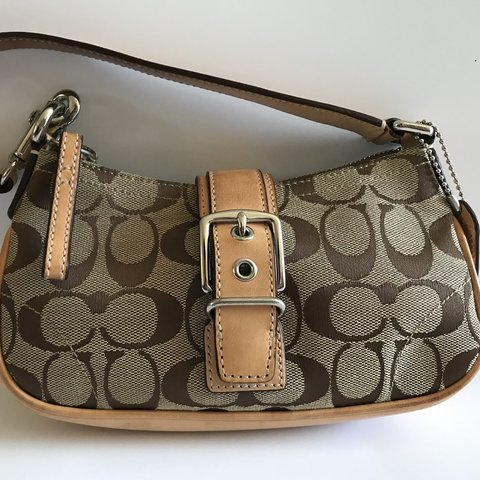 35c85fdc1b Coach Classic C mini shoulder bag in light brown canvas with - Depop