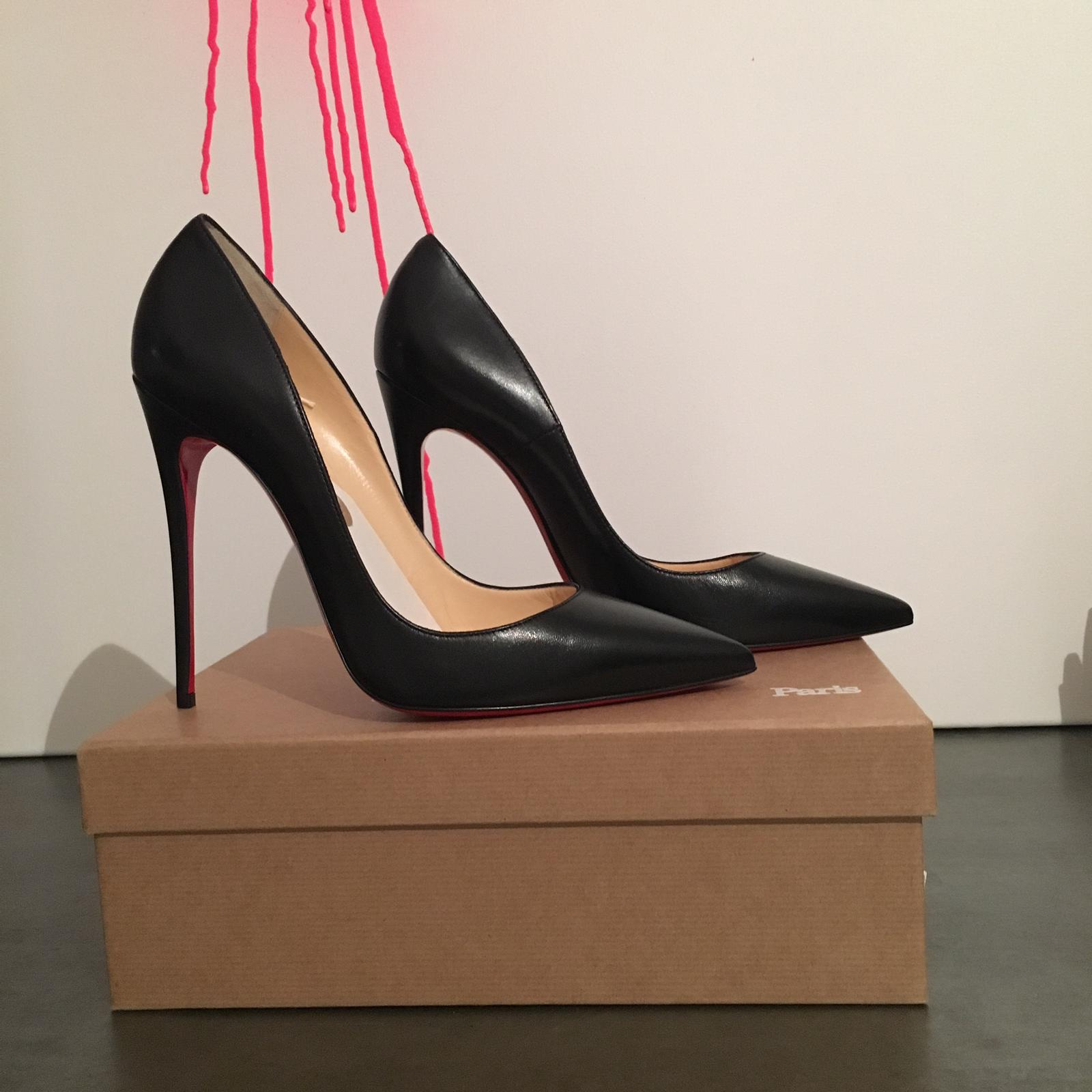 info for 76b36 41994 AUTHENTIC CHRISTIAN LOUBOUTIN BLACK LEATHER ...
