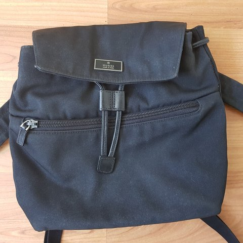 642f5a86e75 Mini Gucci black backpack. Made from canvas and leather and - Depop