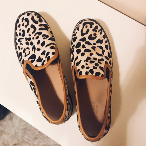6e94fded9c88 Kurt Geiger Carvela leopard slip on trainers, size 5 and a - - Depop