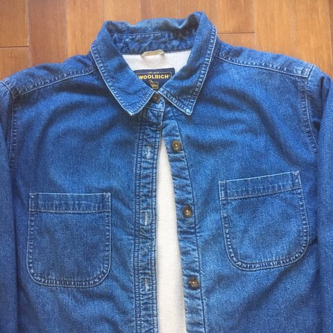 32beefb2d3 Woolrich fleece lined denim shirt Great vintage denim - Depop