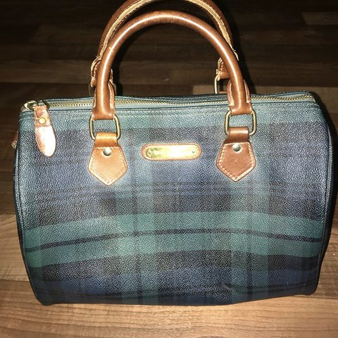Vintage Polo Ralph Lauren Bag Green and blue plaid Genuine - Depop c1385c9807fb4