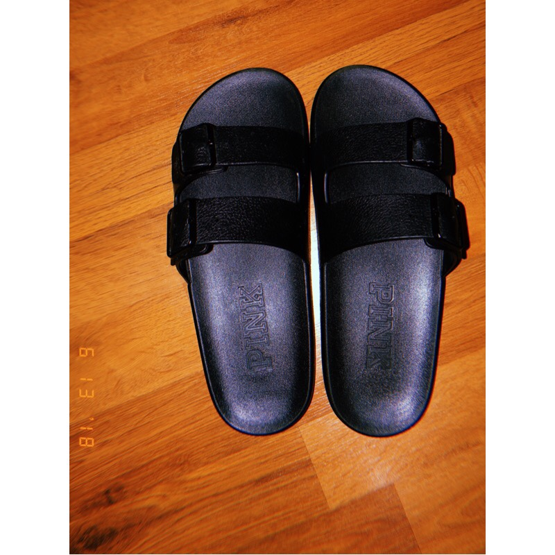 81790ca46d480 Victoria's Secret Pink Black Double buckle Slides|... - Depop