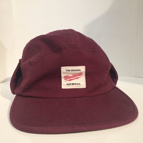 3ea0629e7380ae Huf Worldwide Hat Maroon Burgundy Skate Button Ear Warmer If - Depop