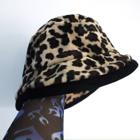 c21f3907 @hevbar. last year. England, UK. The sassiest vintage furry leopard print  bucket hat 🐯 Velour textured hat that ...