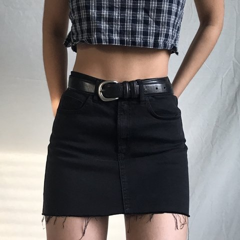458d3395f5 washed black denim brandy melville skirt from their store in - Depop