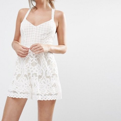 8cdc859007 Cream lace playsuit from New Look size 12. Worn once and in - Depop