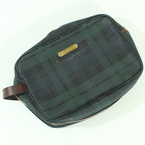 VTG Polo Ralph Lauren Plaid Leather Clutch Bag USED (The on - Depop 287bd22c46079