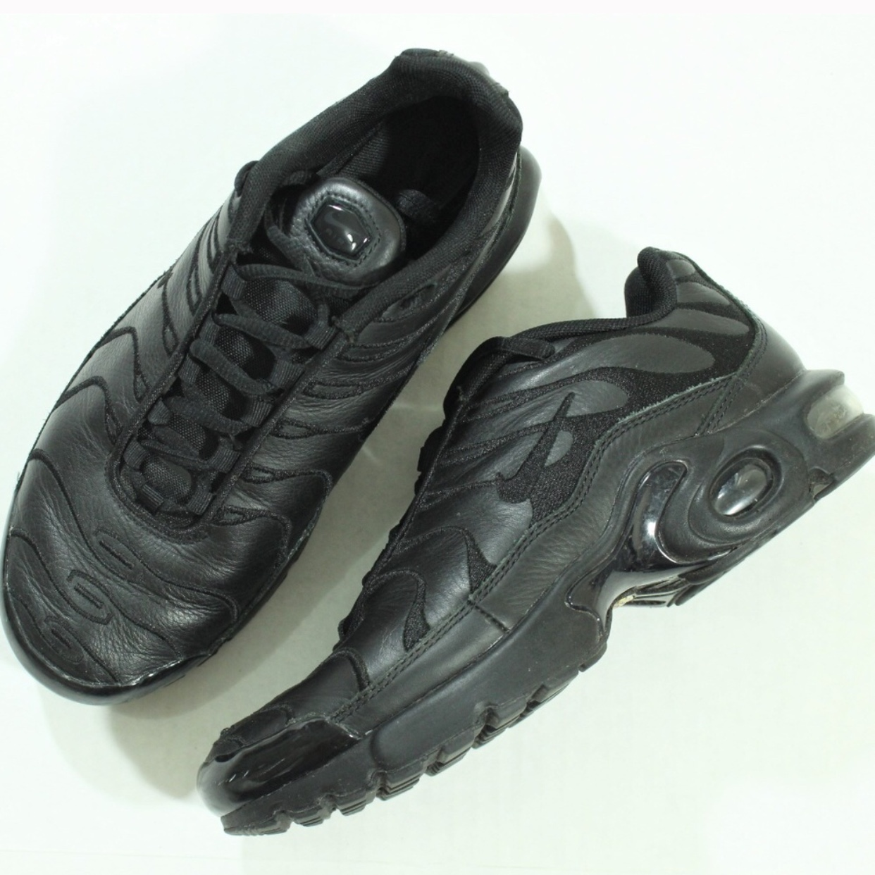 pretty nice caaf7 3e742 Nike Air Max Plus TN Tuned GS Triple Black Leather... - Depop