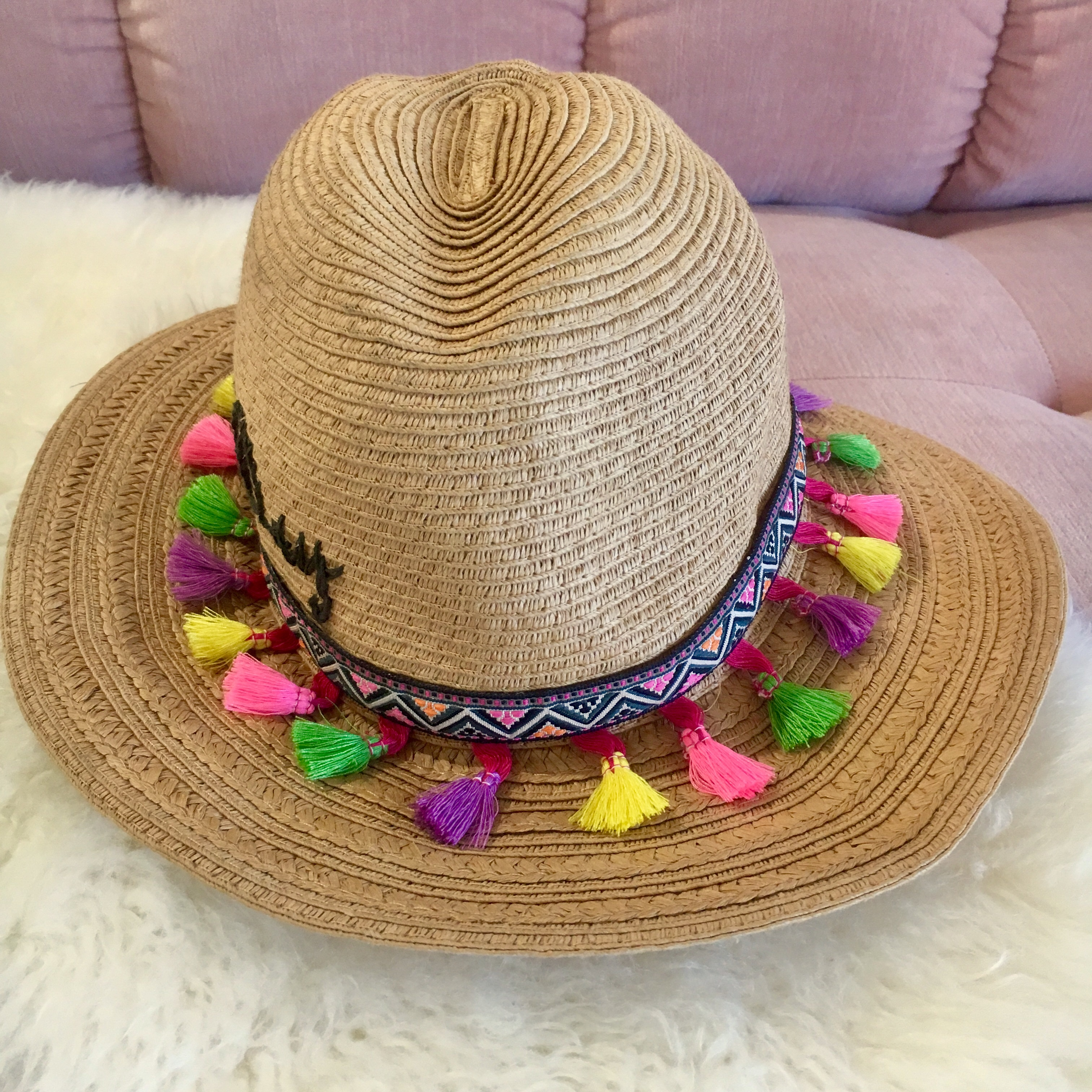"""ad7ee732a Cute Betsy Johnson straw """"Vacay all day"""" hat!... - Depop"""