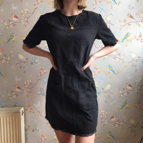 9e69c807a9 Black denim boxy fit dress with frayed edges at the sleeves - Depop