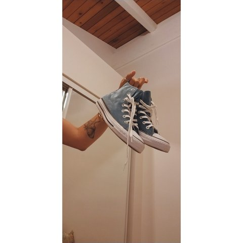 95fc162fe0a8 Crushed velvet baby blue all-star Converse Worn once to - Depop
