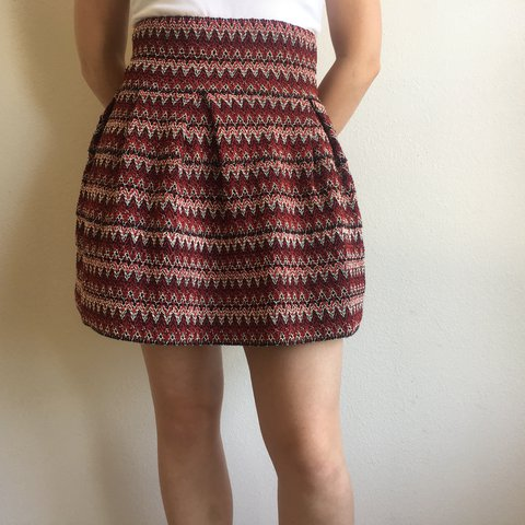 131cf0cce7d8 Woven, red, burgundy, white, and black H&M skater skirt with - Depop