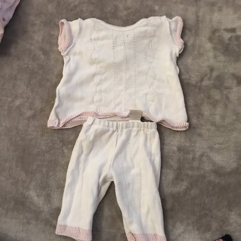 Outfit Spanish Style Baby Girl White /& Pink Knitted Dress and Pants Set