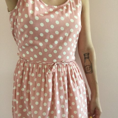 430f9885a88a flowy dusty pink polka dotted dress worn once comes just the - Depop