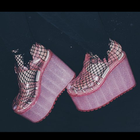 "860aa0611f15 💗💗 UNIF PINK SPARKLE ""HELLA JELLY"" PLATFORM JELLY SANDALS - Depop"
