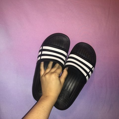 510d1708b41d Lightly used adidas slides 💗 would fit a women s 6.5 7 - Depop