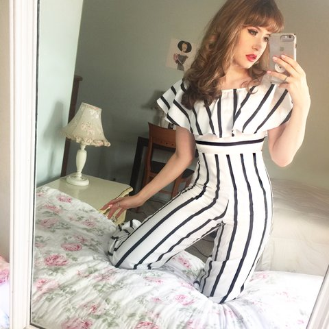 """81c0eb5c406d Beauty is yours. Explore it. Black and white striped 13"""" - Depop"""