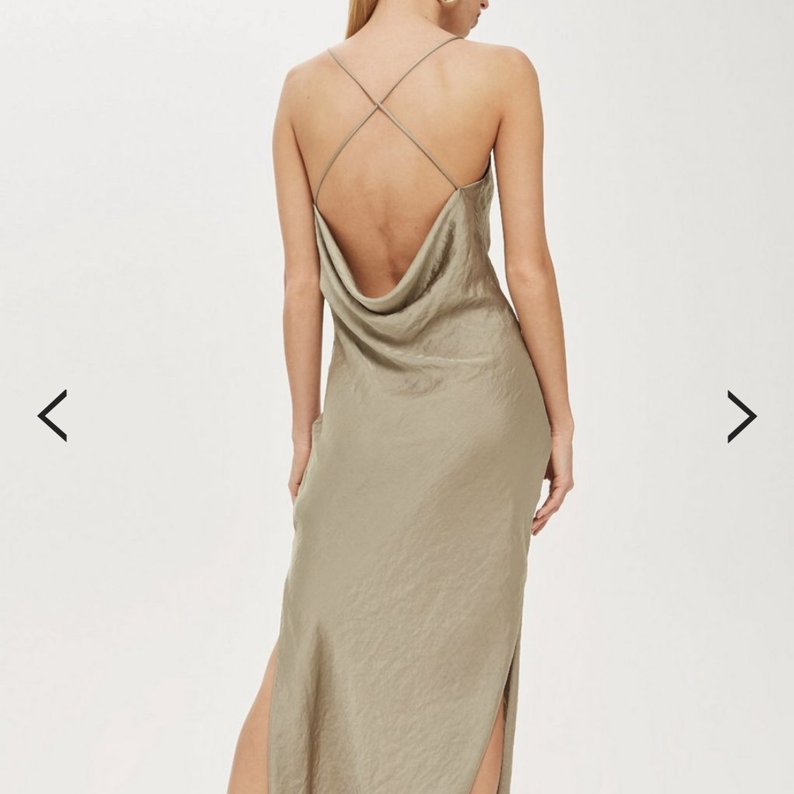 f16abab16b642 Topshop olive satin slip dress Sold out in most sizes Size - Depop