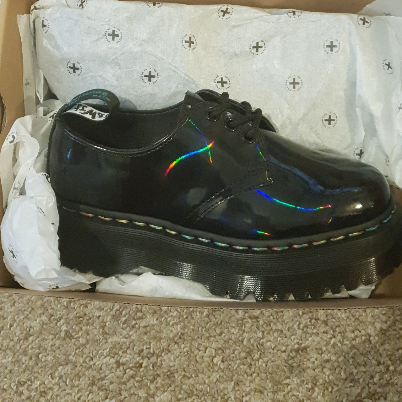 40ca6cad94 @gilly12345. 5 months ago. Portsmouth, Portsmouth, United Kingdom. 1461 QUAD  DR MARTENS, RAINBOW BLACK PATENT SHOES ...