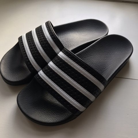 3ad68225a ADIDAS SLIDERS Black   White Adilette Slide Sandals - fit   - Depop