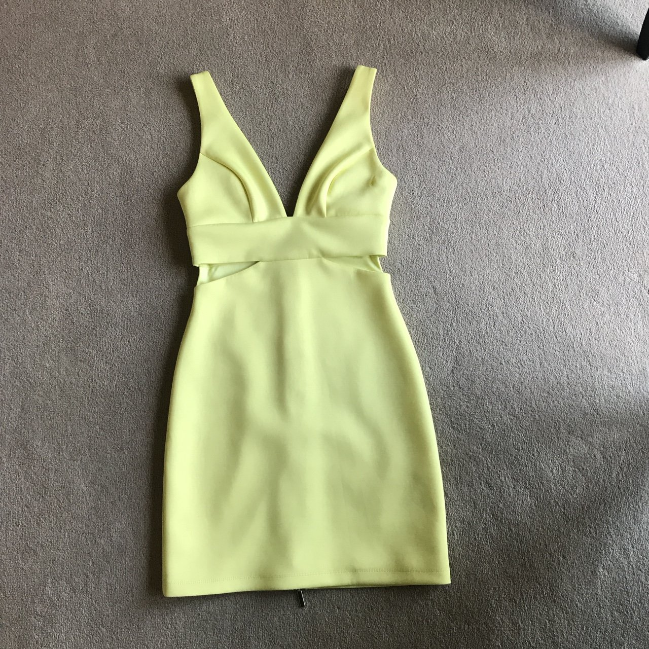 c14529449f Topshop plunge yellow dress in scuba material. Slight hole - Depop