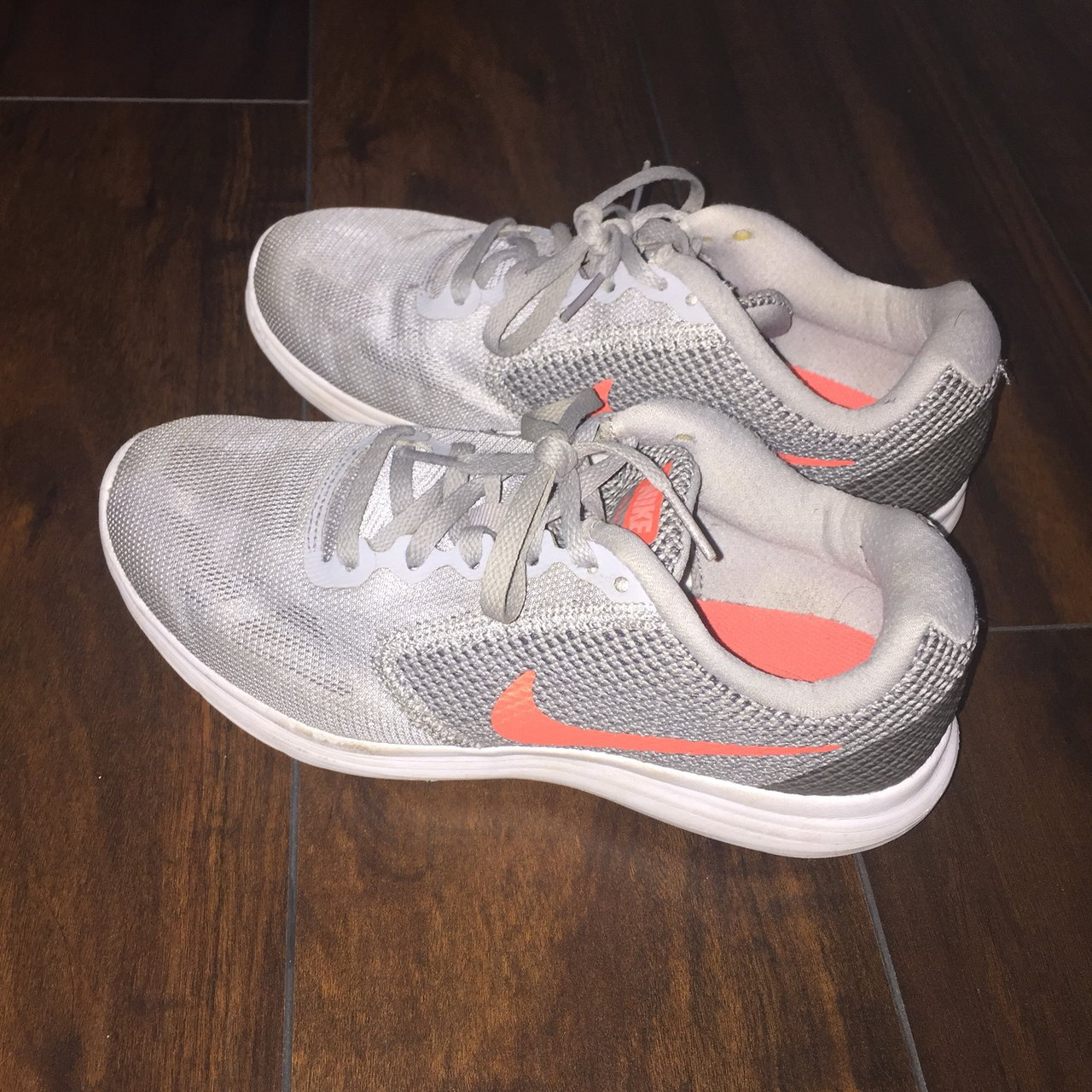 new product a02ca 9706a  ahlam a1. 9 months ago. Pearland, United States. Nike REVOLUTION 3. Women s  Wolf Grey   Hyper Orange Comfort Running Shoes.