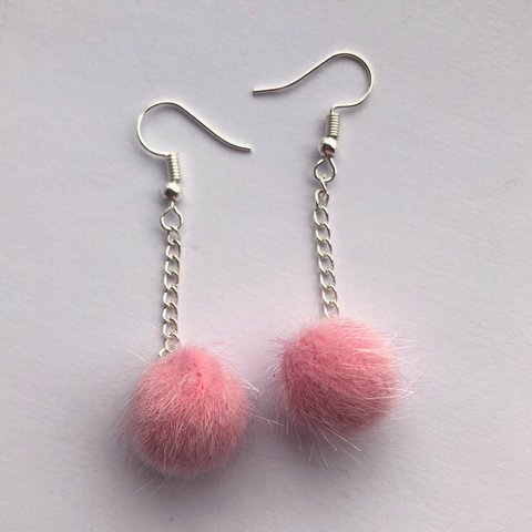 0b1bfb825 @alscharms. yesterday. Badminton, United Kingdom. Baby pink pom pom drop  silver earrings ...