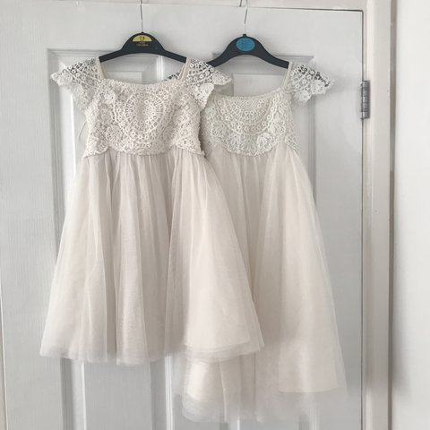 2e93daaba8f Monsoon Flower girl dresses with lace detail Age 18-24 and - Depop