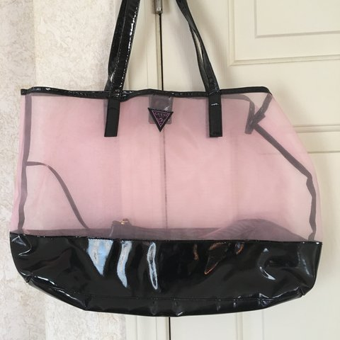 pink and black guess bag. perfect for the beach or really it - Depop 27423181a74fb