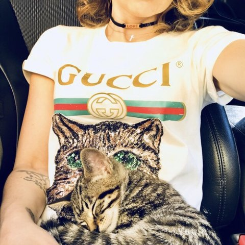 d04a203d8811 @shayla83. 10 months ago. United States. Gucci Catwalk Model T-shirt  Embroidered Sequin Cat. Trending top.