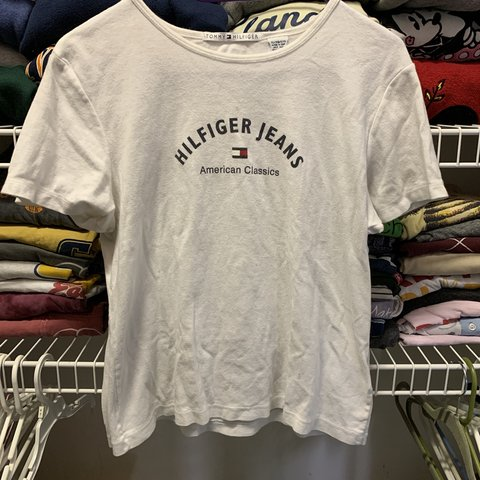 345114451 @vpeytons. 18 days ago. Chattanooga, United States. Vintage White Tommy  Hilfiger Jeans t-shirt!