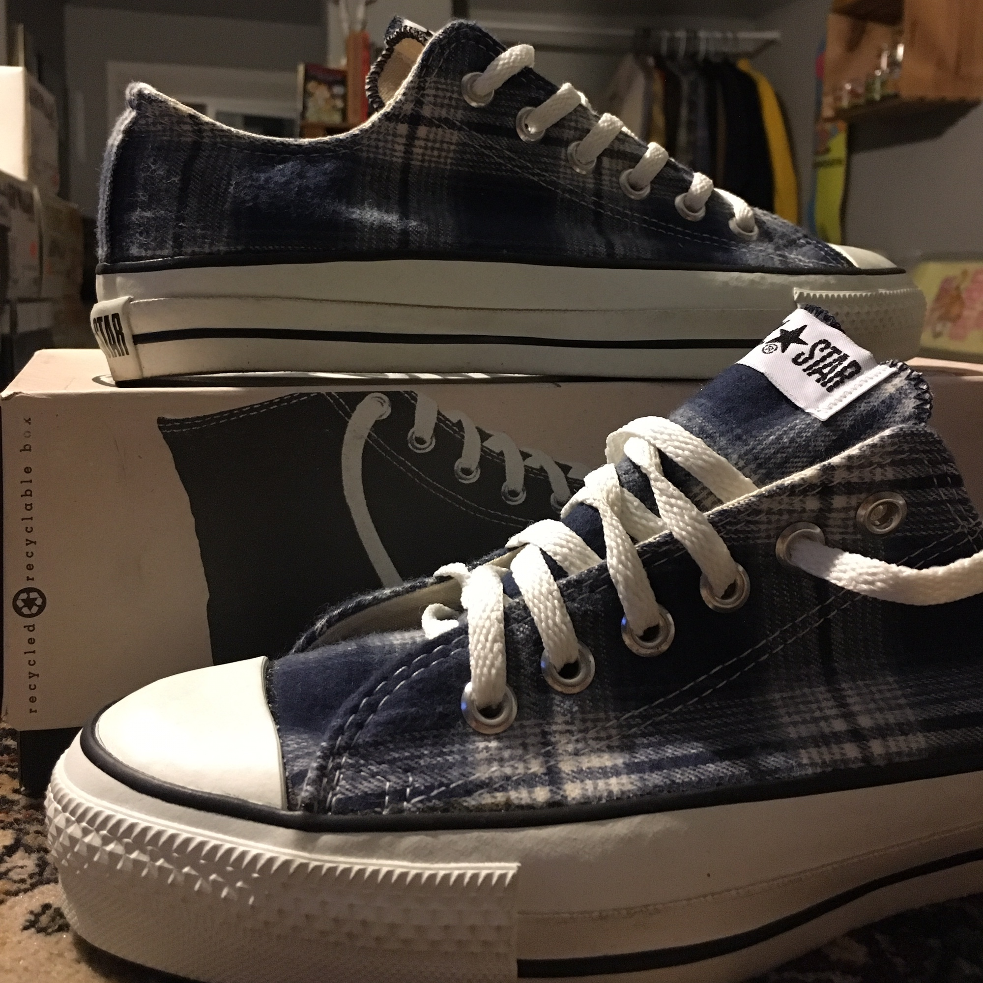 1990's Plaid Vintage Converse Made In USA Men's Depop