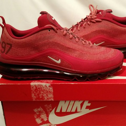 7a8500008107aa Nike Air Max 97 2013 HYP Terra Red White-Deep Cardinal-Team - Depop