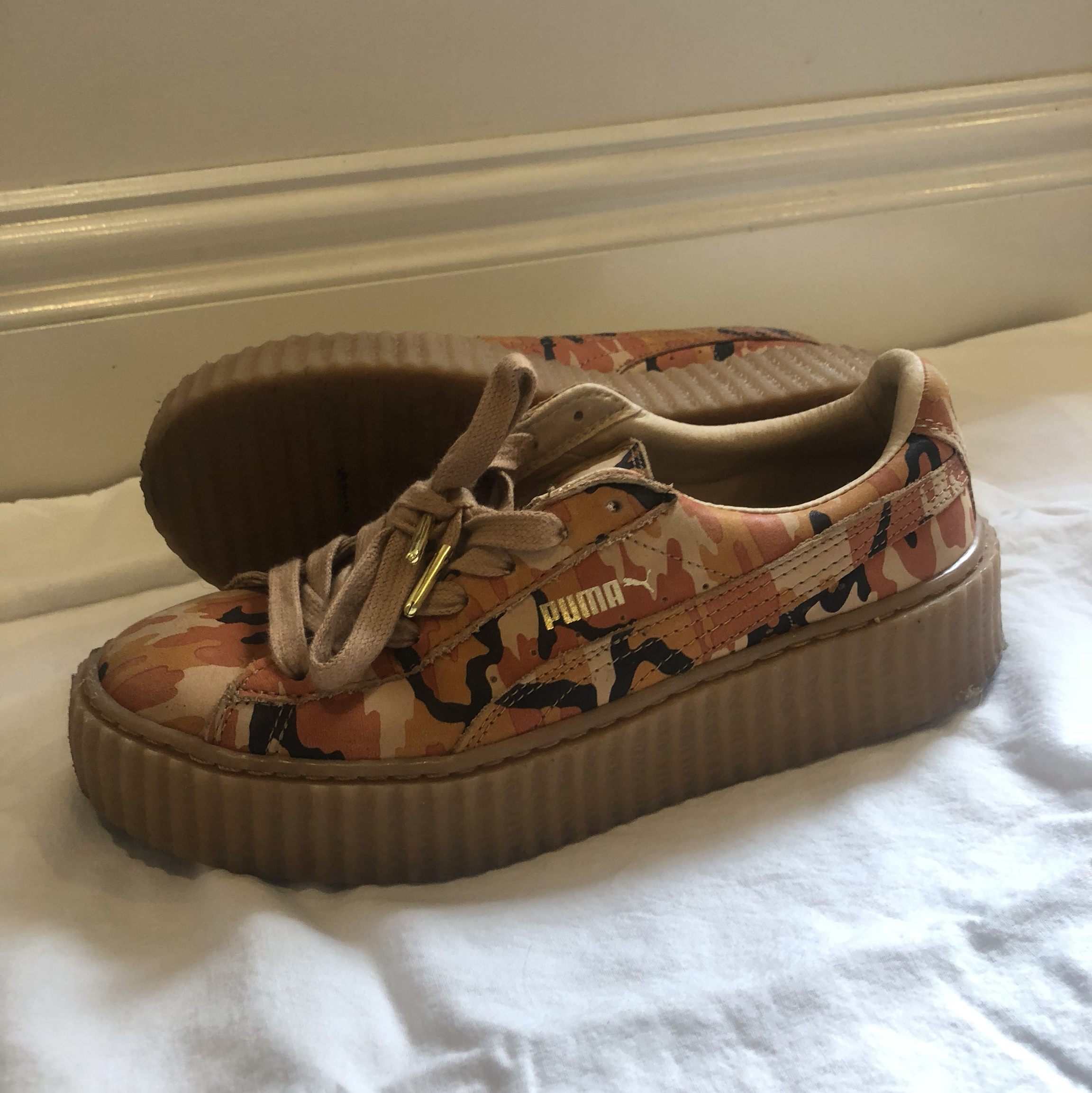 official photos e2271 8071f Orange Camo Fenty Puma Creepers 🍊 Good... - Depop