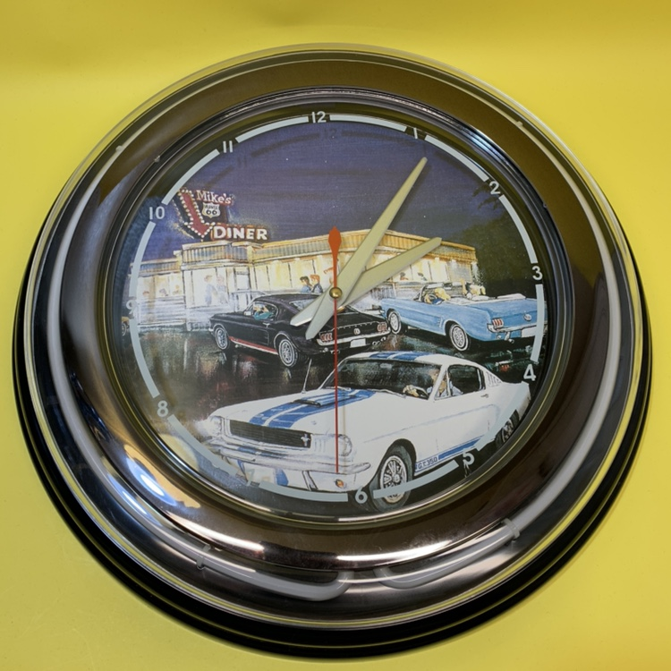 Vintage Route 66 blue neon car clock NEW For the    - Depop