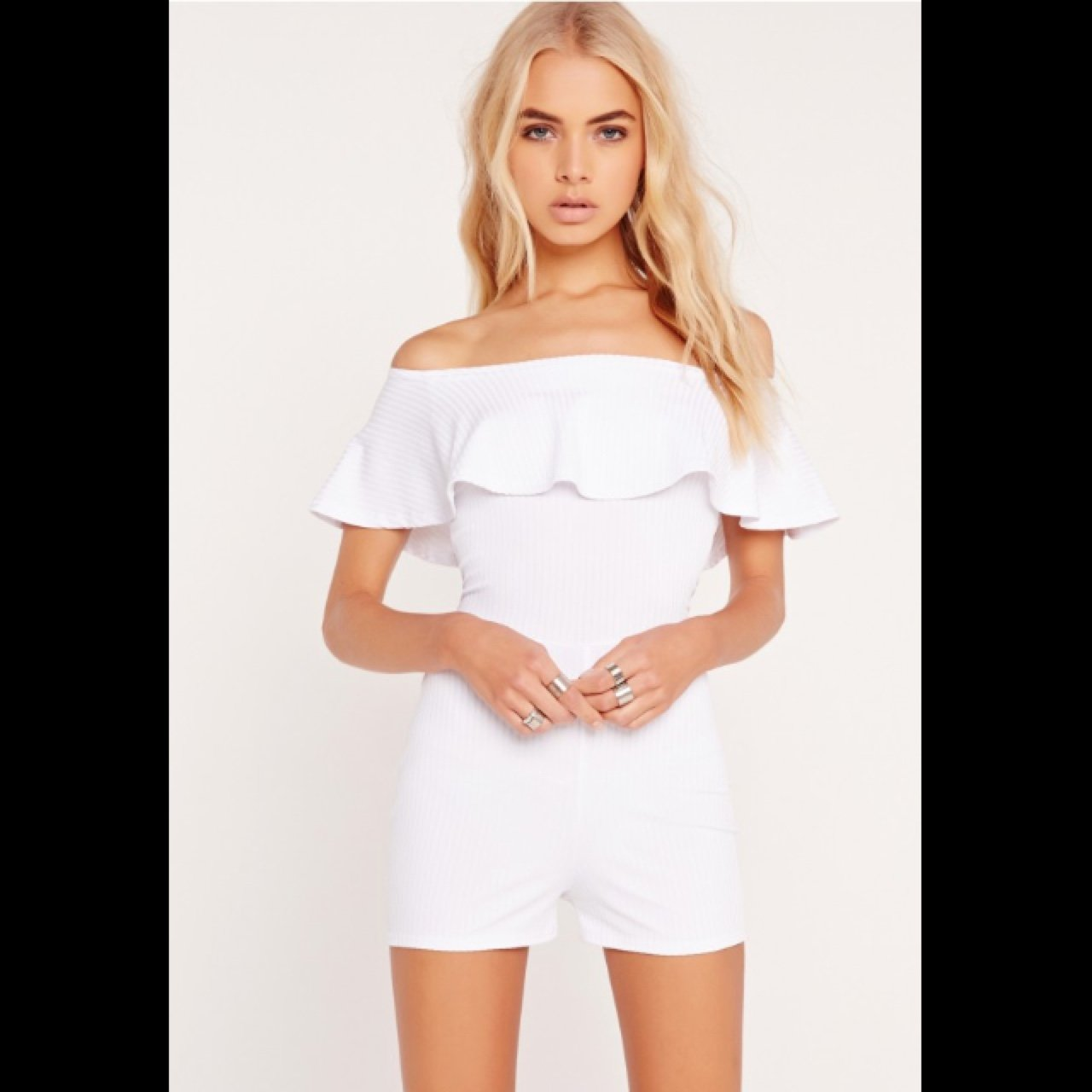 f5abbaa701e MISSGUIDED Ribbed Frill Bardot Playsuit in White. Size 8  - - Depop