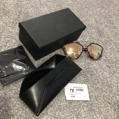 9468d05b97630 Christian Dior SoReal rise sunglasses Black and gold RRP - Depop