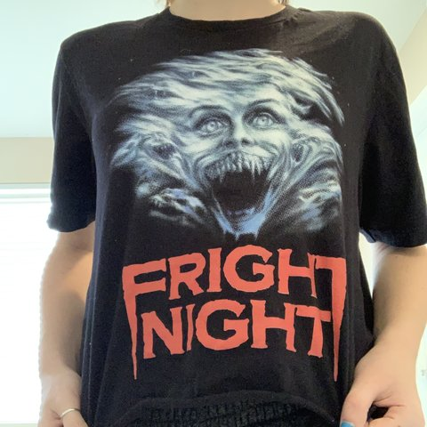 71a7f01f18 Vintage horror movie cropped T-shirt, worn quite a bit i but - Depop