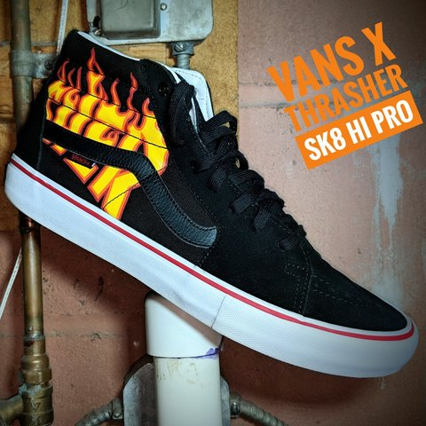 76b3e40e4cbbb7 Vans X Thrasher Sk8-Hi Pro Black Skate Shoes. Used but in - Depop