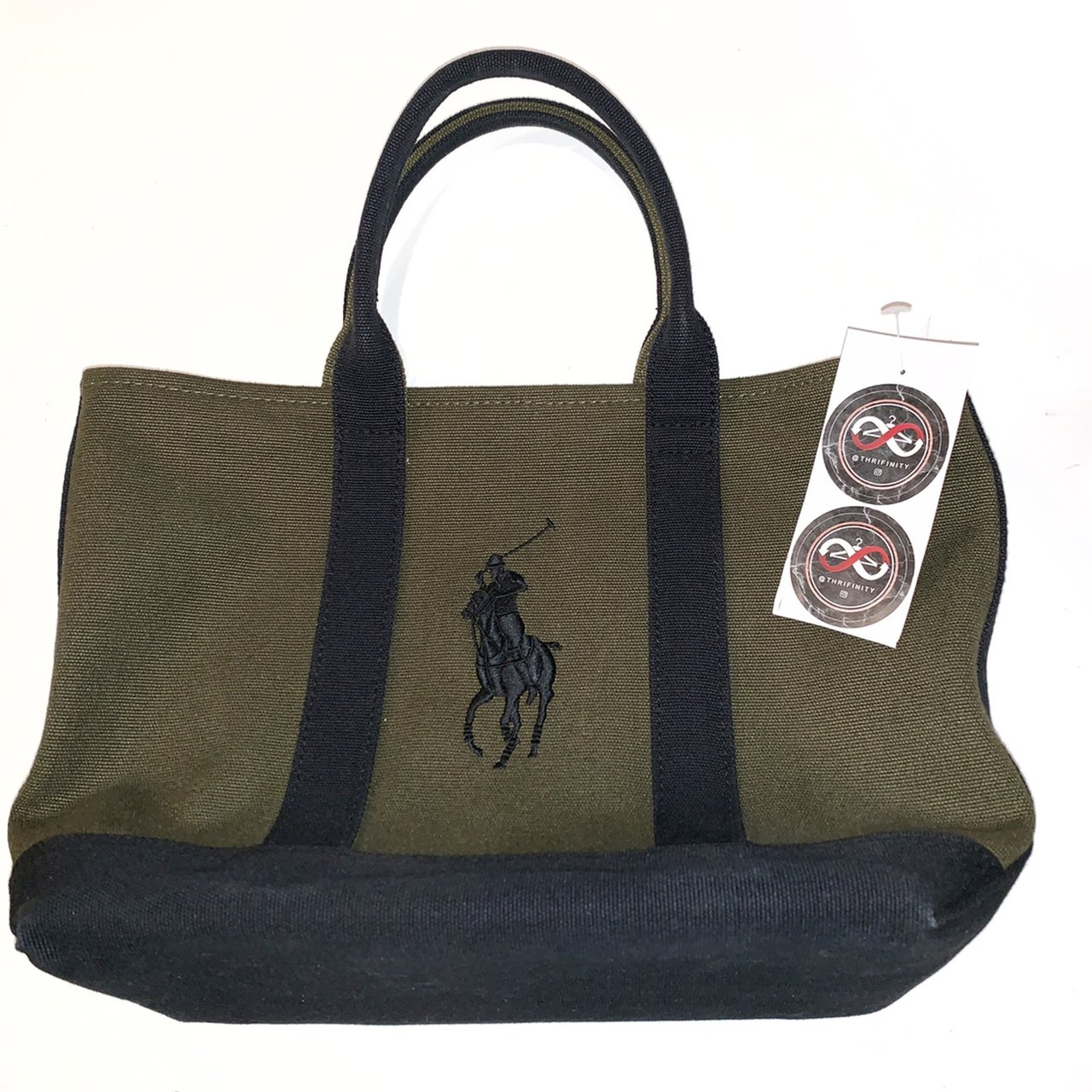 43e5c06ab433 Polo Ralph Lauren Small Canvas Bag. Dark olive green and - Depop