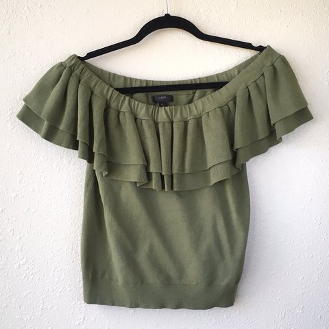 2e69ad3ff0e J. Crew olive green off-the-shoulder top with two ruffles to - Depop