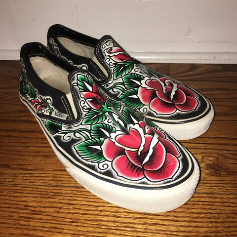 f21461f34f1904 Rare Vans by Oliver Peck. Limited Edition Tattoo Rose Print - Depop