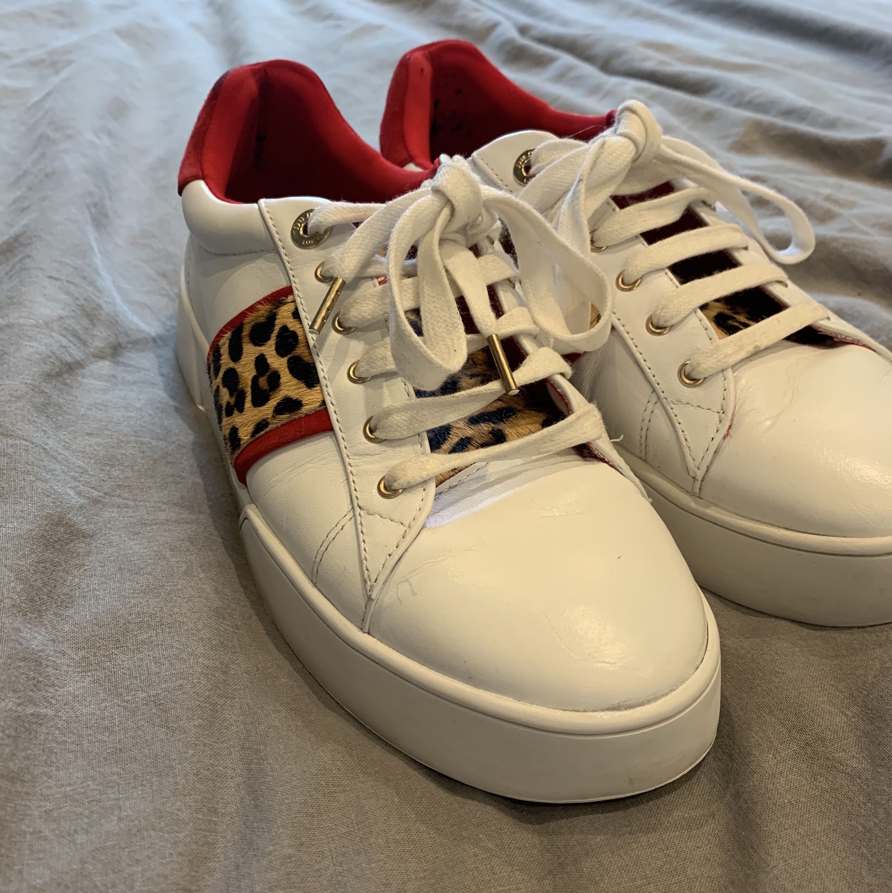 Dune white trainers with leopard print