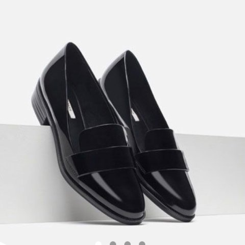 2856a994581 ZARA Patent Leather Black Loafers. Barely worn. Some wear on - Depop