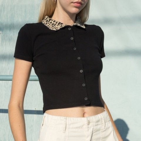 29efb9a1d827 @hanakor. 5 months ago. Los Angeles, United States. Brandy Melville Leopard  Print Caroline Top NWT Short sleeve collared button up top in black with a  ...